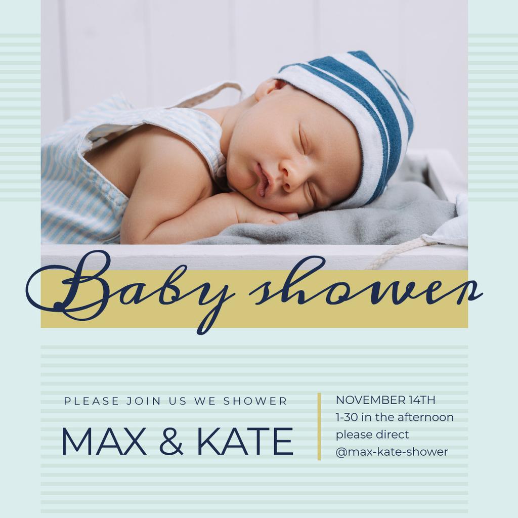 Baby Shower Invitation Cute Boy Sleeping — Створити дизайн