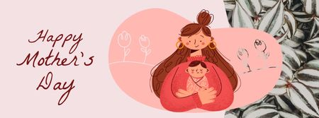 Plantilla de diseño de Mother's Day Happy Mom with Baby Facebook Video cover