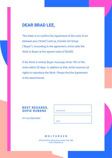 Modèle de visuel Professional Artist deal agreement - Letterhead
