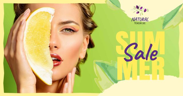 Plantilla de diseño de Summer Sale with Woman holding Pomelo fruit Facebook AD