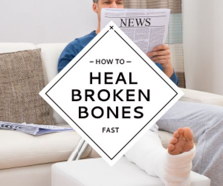 Man with broken bones sitting on sofa reading newspaper Medium Rectangle Modelo de Design