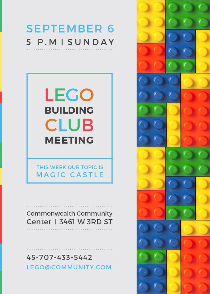 Lego Building Club meeting Constructor Bricks Invitation – шаблон для дизайну