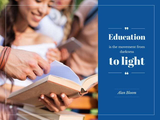 Plantilla de diseño de Education Quote with Smiling Students Studying Presentation
