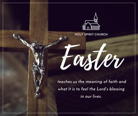 Szablon projektu Easter Greeting with Christian Cross Facebook