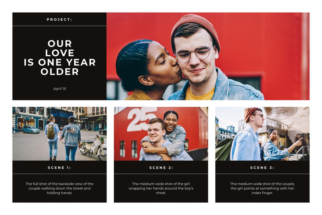 Happy Young Couple in City Storyboard Design Template