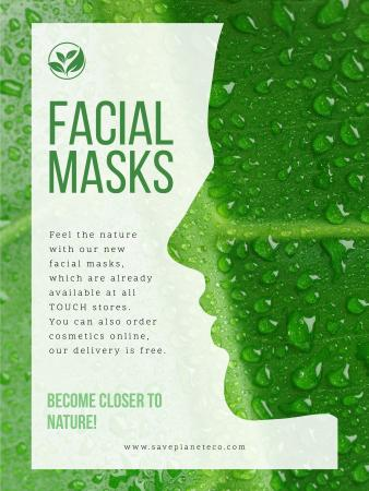 Facial masks ad with Green Leaf Poster US Modelo de Design