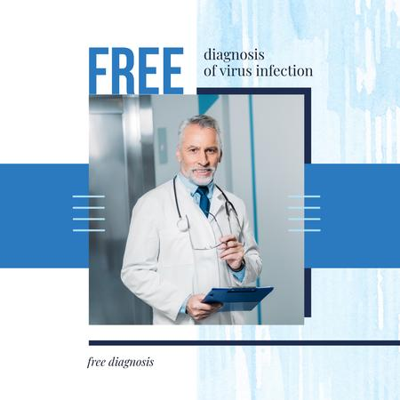 Confident Doctor with Stethoscope in Blue Instagram AD – шаблон для дизайну