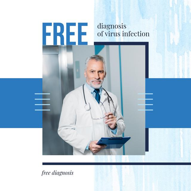 Template di design Confident Doctor with Stethoscope in Blue Instagram AD