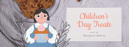 Designvorlage Girl holding cupcake for Children's Day für Facebook Video cover