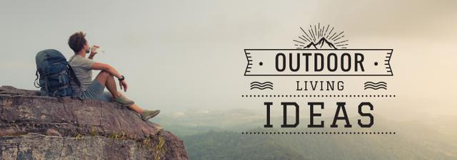 Outdoor Trip Inspiration Backpacker Sitting on Cliff Tumblrデザインテンプレート