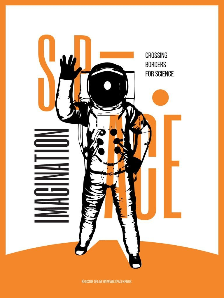 Space Theme Poster with Astronaut Sketch in Orange Color — Створити дизайн
