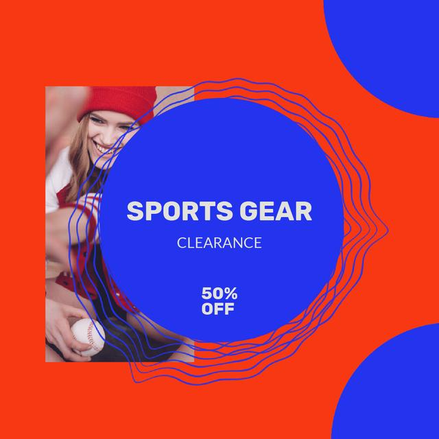 Designvorlage Sport gear Sale with Woman playing Baseball für Animated Post