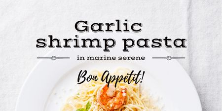 Garlic shrimp Pasta Dish Twitterデザインテンプレート