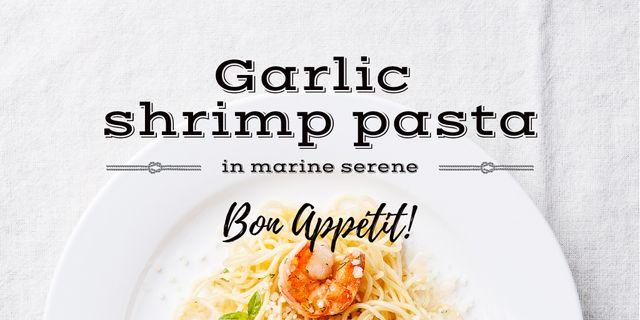 Garlic shrimp Pasta Dish Twitter Modelo de Design