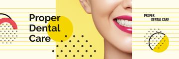 Dental Care Tips Female Smile with White Teeth | Email Header Template