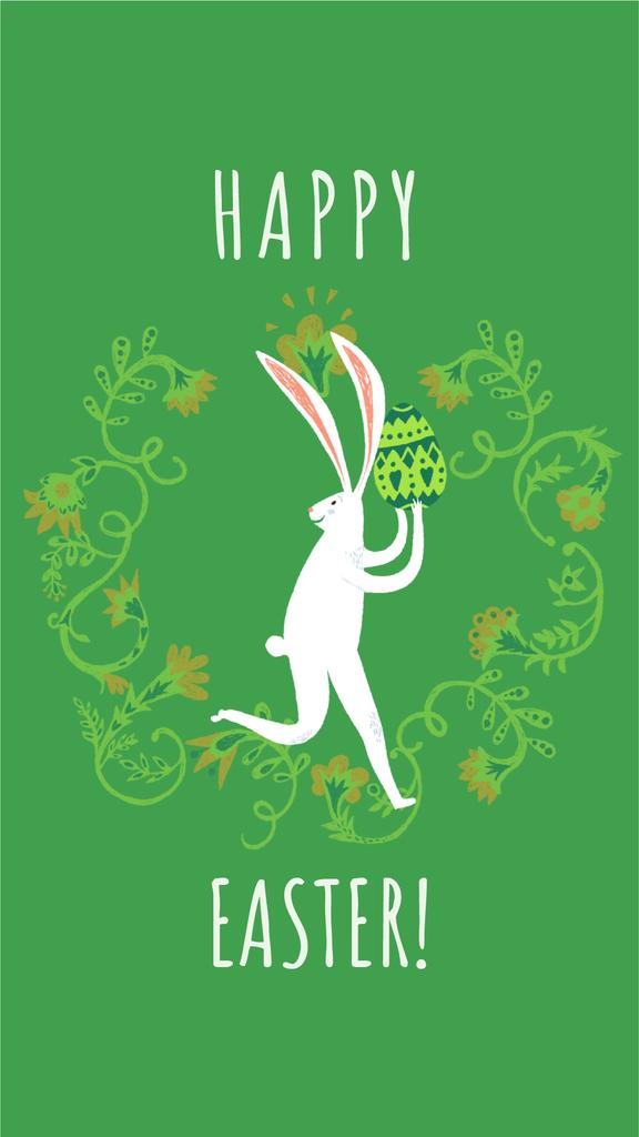 Happy Easter card with White Rabbit — Modelo de projeto