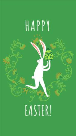 Plantilla de diseño de Happy Easter card with White Rabbit Instagram Video Story