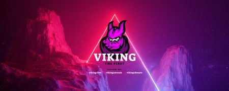 Viking illustration on Cosmic Rocks landscape Twitch Profile Bannerデザインテンプレート