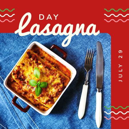 Ontwerpsjabloon van Instagram van Italian lasagna dish Day