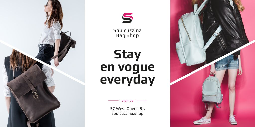 Bag Store Promotion with Woman Carrying Backpack — Modelo de projeto
