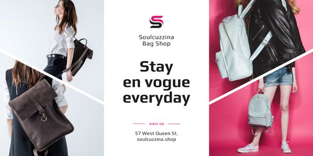 Bag Store Promotion with Woman Carrying Backpack Twitter – шаблон для дизайну
