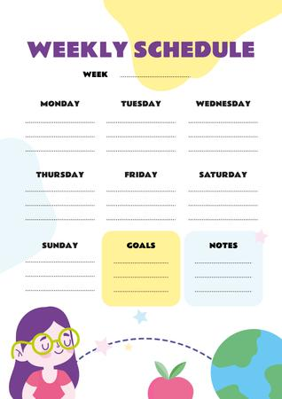 Weekly Schedule with Girl and Globe Schedule Planner Tasarım Şablonu