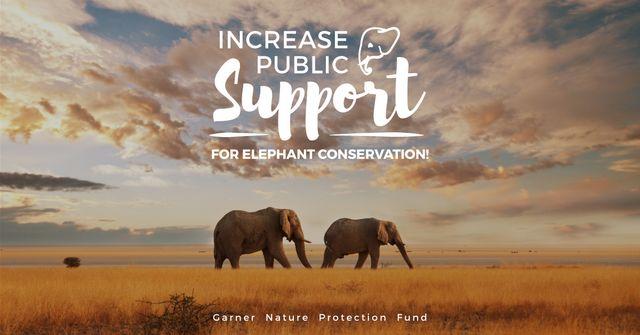 Modèle de visuel Wild Elephants in Desert - Facebook AD