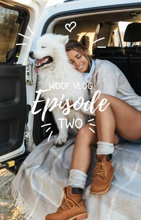 Woman and Dog Travel in Car IGTV Cover Modelo de Design