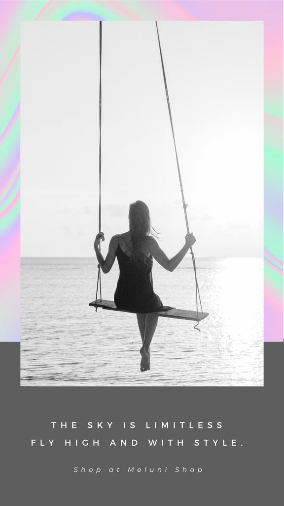 Fashion Ad with Girl on swing by the Ocean — Створити дизайн
