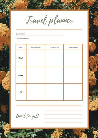 Travel Planner in Yellow Flowers Frame Schedule Planner Design Template