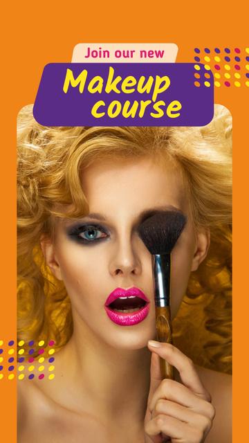 Modèle de visuel Makeup Course Ad Attractive Woman holding Brush - Instagram Story