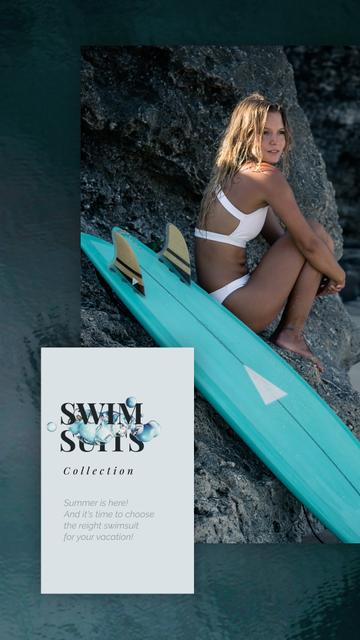 Plantilla de diseño de Swimwear Ad Woman in Bikini with Surfboard Instagram Video Story