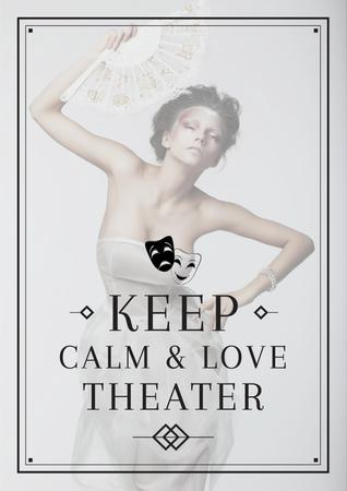 Citation about love to theater Poster Modelo de Design