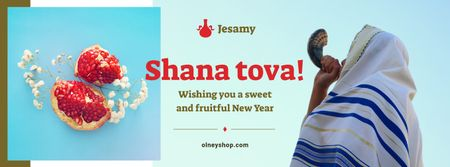 Template di design Rosh Hashanah Greeting Man with Shofar Facebook cover