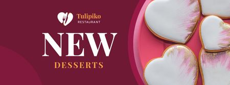 Plantilla de diseño de Heart-Shaped Cookies on plate Facebook cover