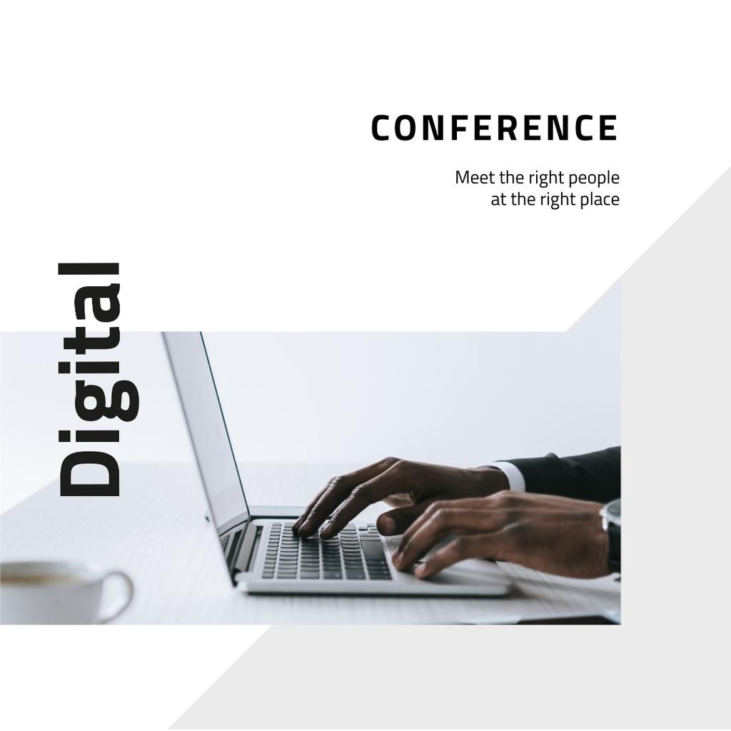 Plantilla de diseño de Business conference announcement with Man by Laptop Instagram