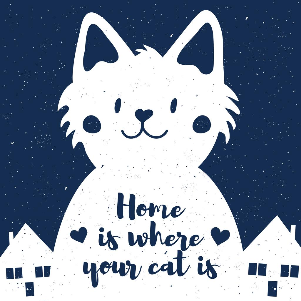 Cute Cat and Houses at Night — Modelo de projeto
