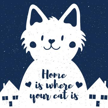 Card with Cute Cat and houses at night