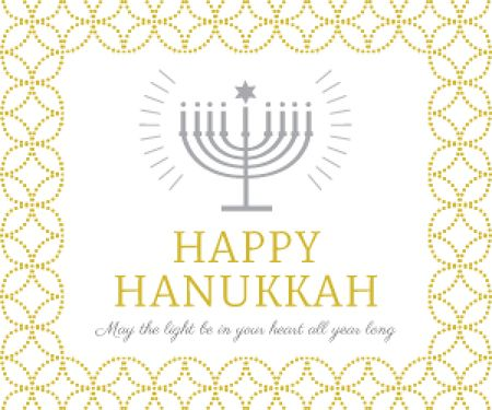 Designvorlage Hanukkah Greeting Menorah in Golden für Medium Rectangle