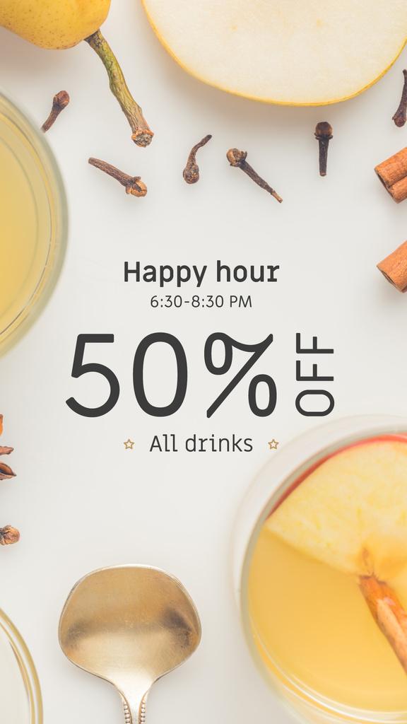Happy Hours Offer White Mulled Wine — Maak een ontwerp