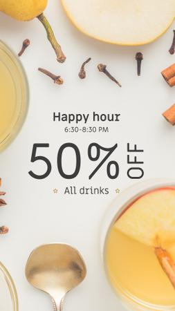 Happy Hours Offer White Mulled Wine Instagram Story Modelo de Design
