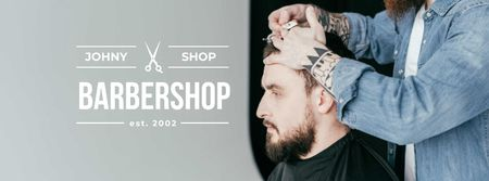 Szablon projektu Hairstyles workshop ad with client at Barbershop Facebook cover