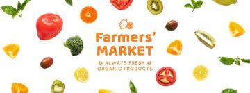 Market Ad Rotating Circles of Vegetables and Fruits