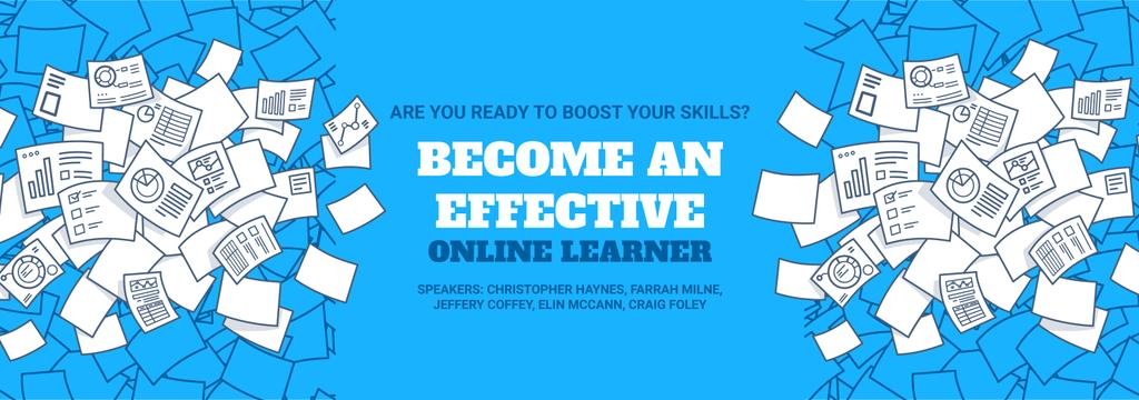 Online Learning Event Announcement Papers in Blue Tumblr Design Template