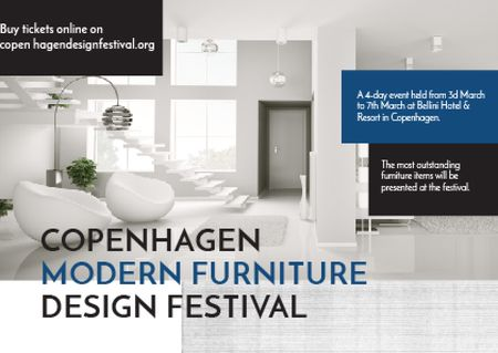 Ontwerpsjabloon van Postcard van Furniture Festival ad with Stylish modern interior in white