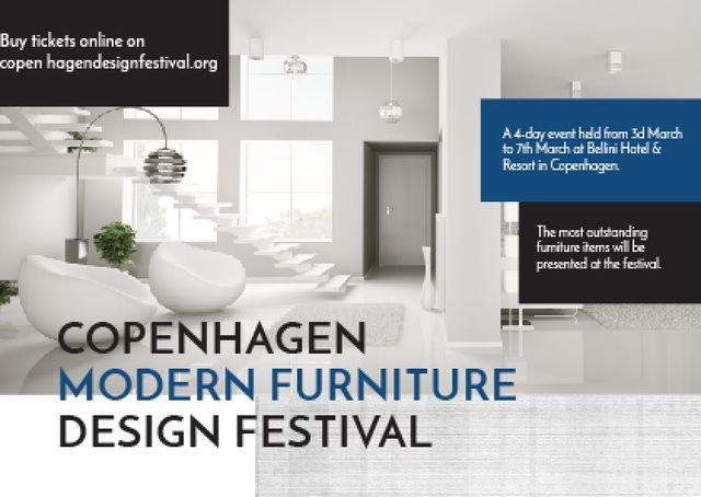 Furniture Festival ad with Stylish modern interior in white Postcard Tasarım Şablonu