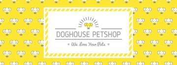 Doghouse pet shop bright banner