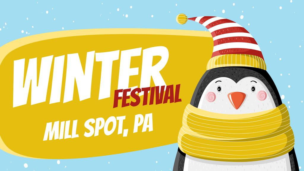 Winter Fest Cute Winter Penguin in Hat | Full Hd Video Template — Crear un diseño