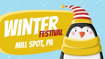 Winter Fest Cute Winter Penguin in Hat | Full Hd Video Template