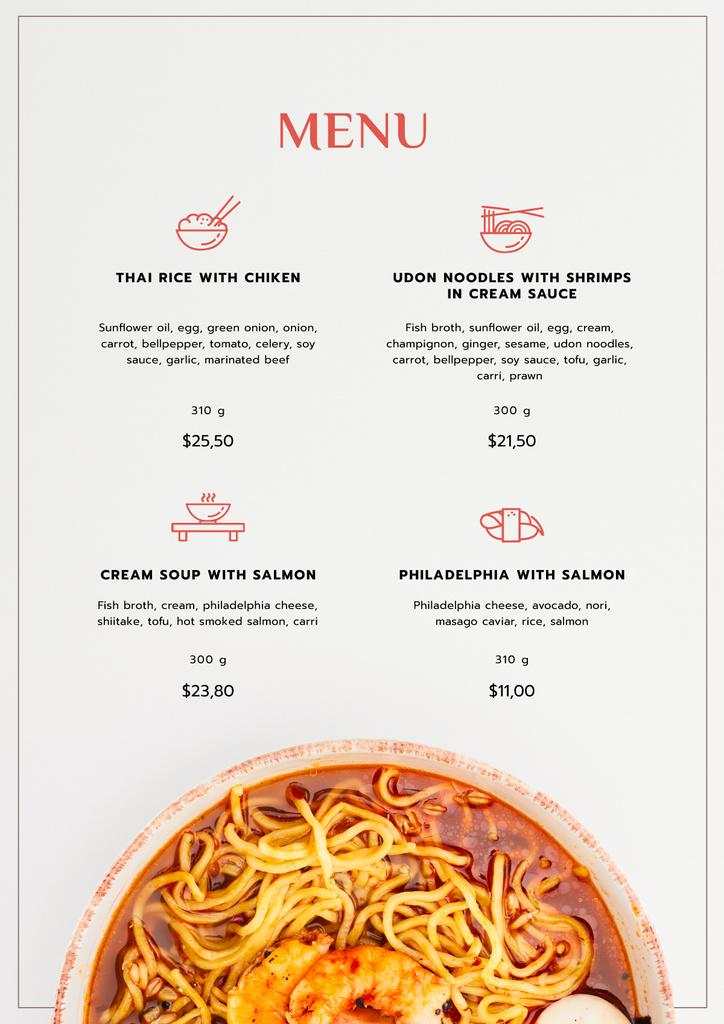 Asian Noodles with seafood Menu – шаблон для дизайна